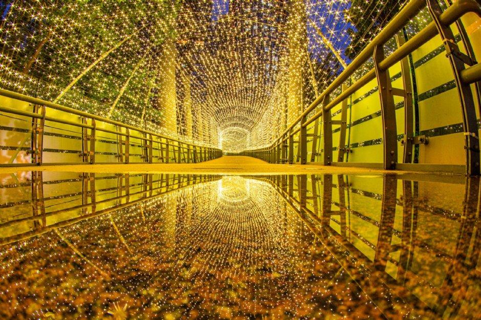 設於新府天橋的「變色光廊」燈光隧道