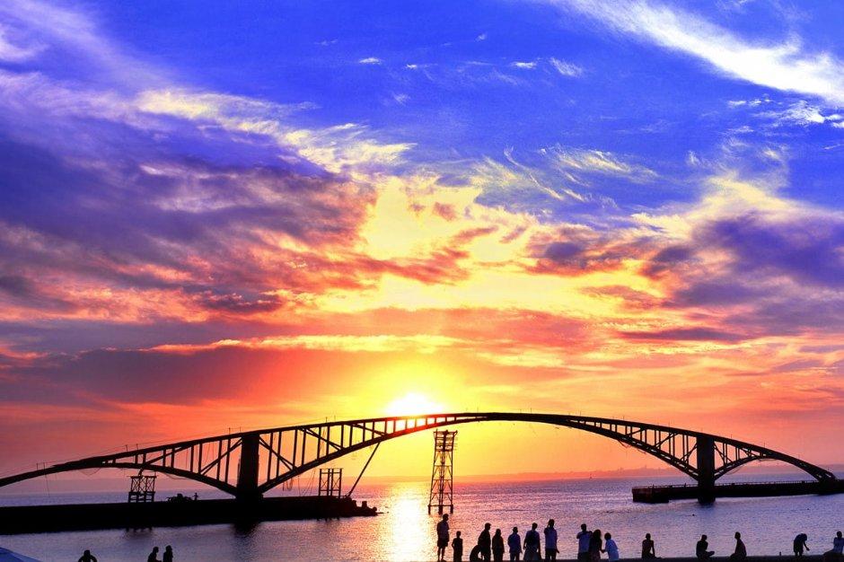 西瀛虹橋落日之美令人讚嘆
