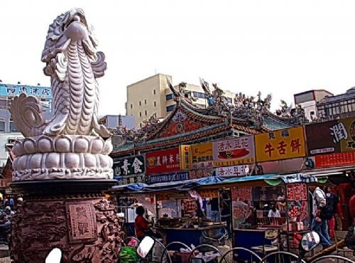 Hsinchu City God Temple-廟旁龍鯉造景